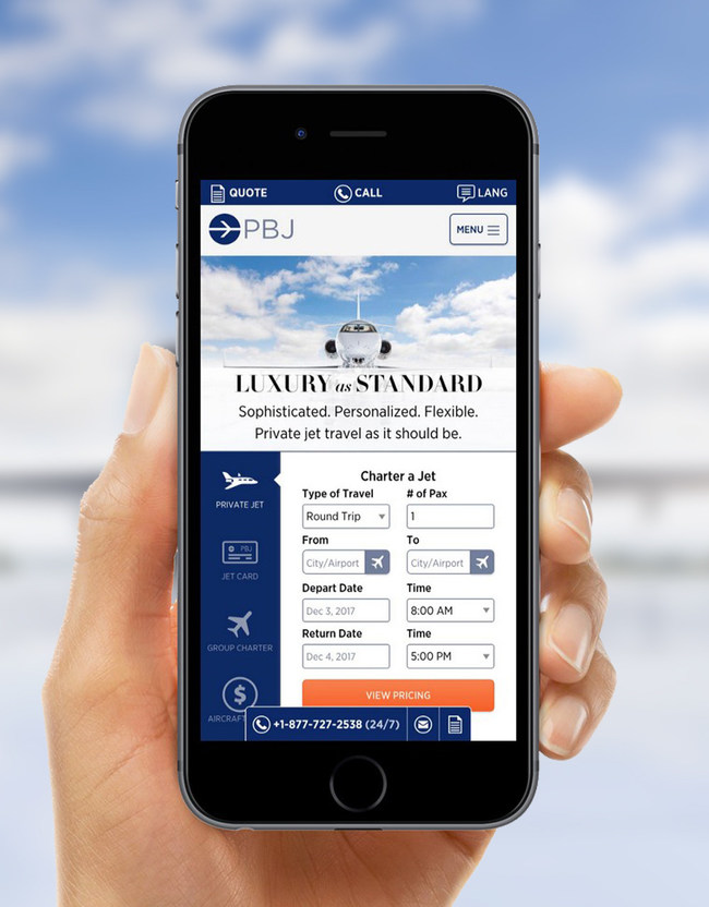 The newly-redesigned Paramount Business Jets website is optimized for mobile devices, allowing people to book their private jets on the go.