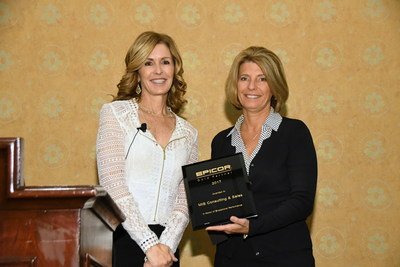 Kendra Kalimanis, President and Founder of MIS Consulting & Sales receiving Gold Partner Award from Lisa Pope, Executive Vice President - America's Epicor Software