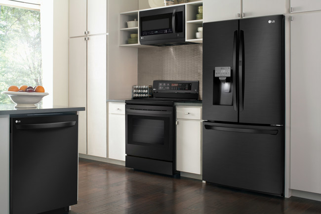 """LG's new """"Matte Black Stainless Steel"""" finish combines the timeless sophistication of stainless steel with a luxe, low-gloss finish that complements any kitchen decor."""
