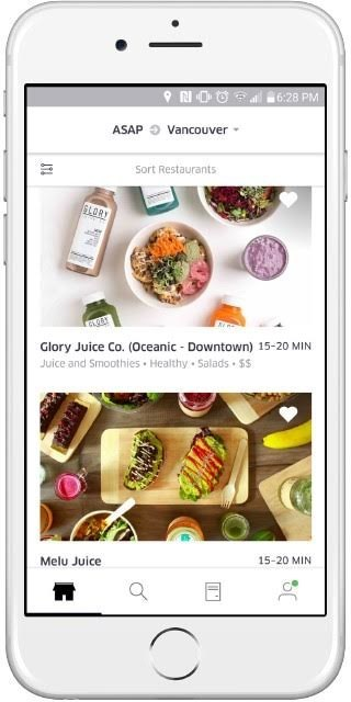 Screenshot of UberEATS in Vancouver (CNW Group/Uber Canada Inc.)