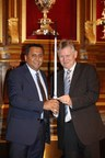 Jitu Virwani, Chairman & Managing Director, Embassy receiving the Sword of Honour (PRNewsfoto/Embassy Property Developments)