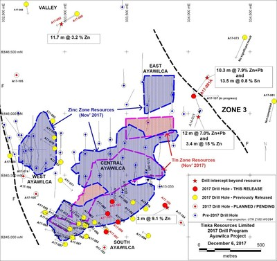 Figure 1. Ayawilca 2017 drill hole location map and updated mineral resource boundaries (hatched) (CNW Group/Tinka Resources Limited)