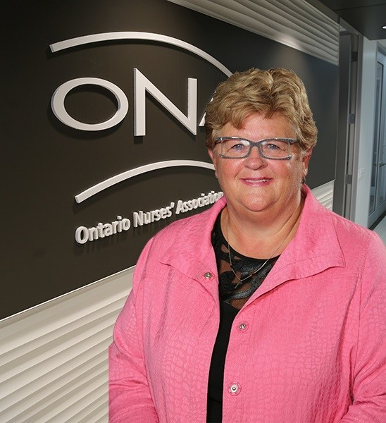 ONA President Linda Haslam-Stroud, RN is celebrating a big win for nurses. (CNW Group/Ontario Nurses Association)