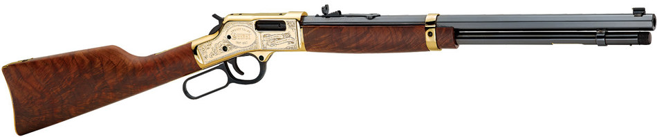 "The Anniversary Edition Big Boy rifles feature highly-detailed, hand-engraved brass receivers boasting the brand's motto, ""Made in America or Not Made at All."" The stocks are hand-selected AAA Presentation grade American Walnut."