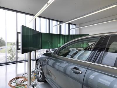 Driver assistance system testing in virtual test lab. (Source: BFFT) (PRNewsfoto/BFFT Fahrzeugtechnik mbH)