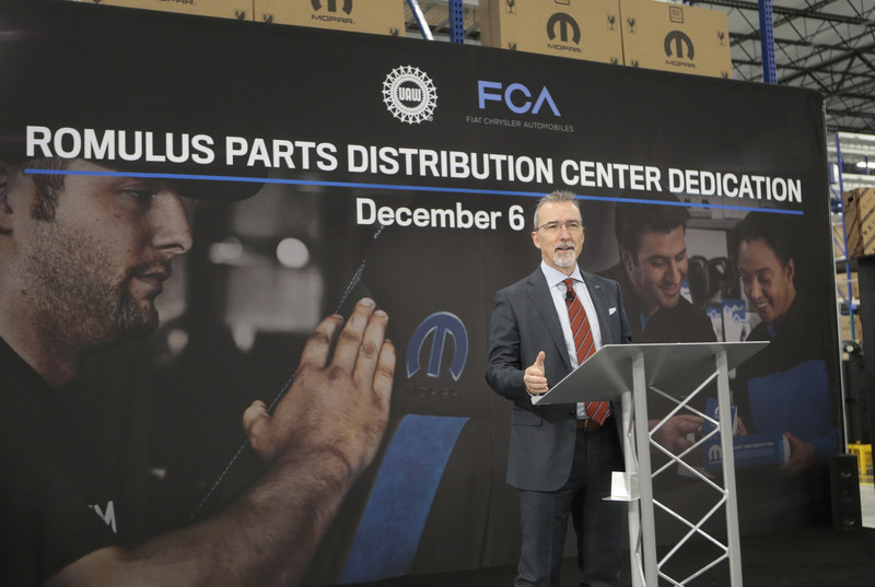 Pietro Gorlier, Head of Parts and Service (Mopar), FCA, speaks during the dedication ceremony for the new Mopar Parts Distribution Center in Romulus, Michigan, on December 6, 2017.