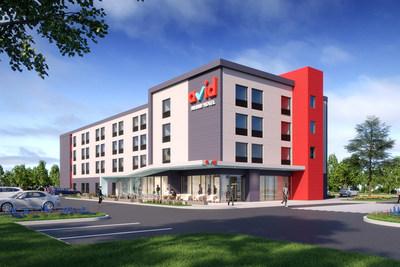 Les établissements à l'allure moderne se distingueront par une entrée à aire ouverte dotée d'un auvent et d'un escalier rouge éclatant qui fera tourner les têtes. (Groupe CNW/IHG)