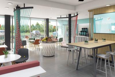 Chaque hôtel offrira gratuitement un petit-déjeuner de qualité ainsi que des options de repas pour emporter, et les visiteurs auront accès à des zones publiques et des aires de travail ouvertes et lumineuses pensées pour le voyageur de tous les jours. (Groupe CNW/IHG)