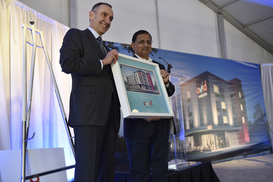 Elie Maalouf, CEO, The Americas, IHG, and Champion Hotels CEO, Champ Patel, celebrate the first groundbreaking of avid hotels in Oklahoma City, OK.