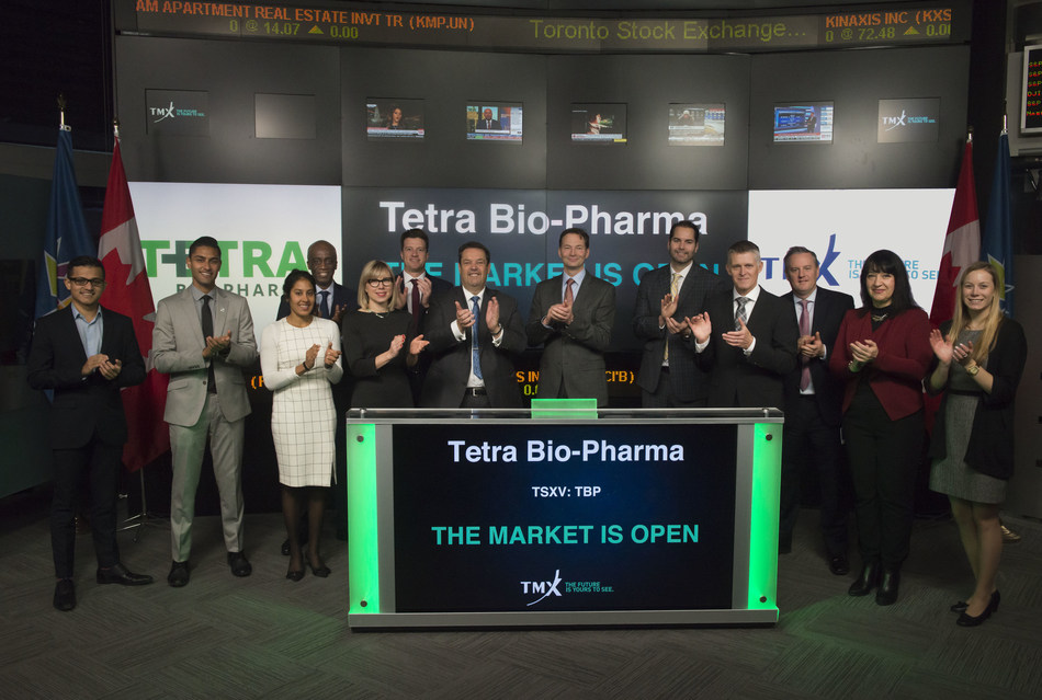 Bernard Fortier, CEO, Tetra Bio-Pharma Inc. (TBP), joined Tim Babcock, Director, Listed Issuer Services, TSX Venture Exchange, to open the market. Tetra Bio-Pharma biopharmaceutical company that is engaged in the development of Bio Pharmaceuticals and Natural Health Products containing Cannabis and other medicinal plant based elements. Tetra Bio-Pharma Inc. commenced trading on TSX Venture Exchange on August 16, 2017. (CNW Group/TMX Group Limited)