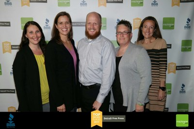 GreenPath Financial Wellness human resources leaders celebrate the company's Detroit Free Press 2017 Top Workplaces award, one of three workplace awards earned in the last 10 months.