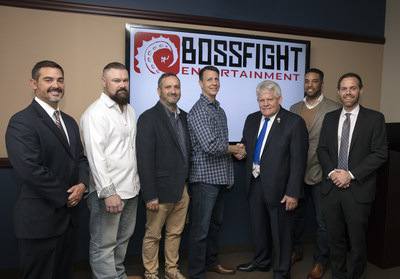 From Left to Right: Michael Schaefer, AEDC Board President; Scott Winsett, COO - Boss Fight Entertainment; Bill Jackson; CCO - Boss Fight Entertainment; David Rippy, CEO - Boss Fight Entertainment; Mayor Stephen Terrell; Derrick Evers, CEO - Kaizen Development Partners; Dan Bowman, Executive Director/CEO - AEDC