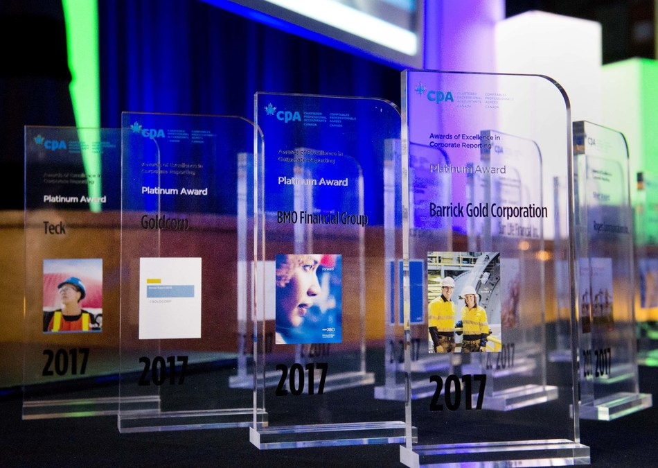 Top honours for BMO FINANCIAL GROUP, BARRICK GOLD CORPORATION, GOLDCORP and TECK at the Awards of Excellence in Corporate Reporting, presented annually by Chartered Professional Accountants of Canada (CPA Canada). (CNW Group/CPA Canada)