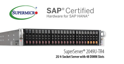 Supermicro offers new 4-socket 2U scale-up enterprise solution certified for SAP HANA.