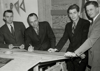 Gift creates endowed professorship in OSU's College of Engineering to commemorate CH2M's roots in civil engineering at the university. CH2M was founded in 1946 in Corvallis, Oregon by OSU civil engineering professor Fred Merryfield and three of his students: Holly Cornell, James Howland and T. Burke Hayes (pictured above)