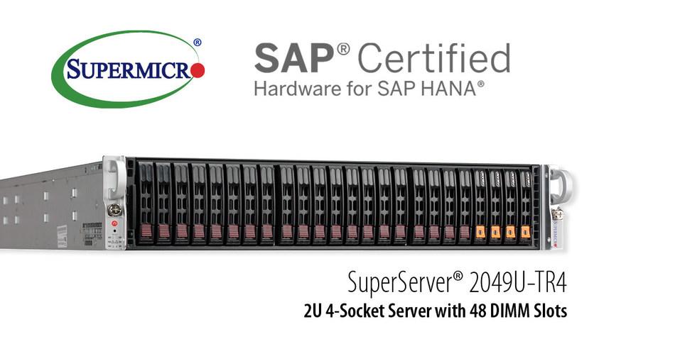 Supermicro oferece nova solução empresarial escalável de 2U e 4 soquetes certificada para SAP HANA.