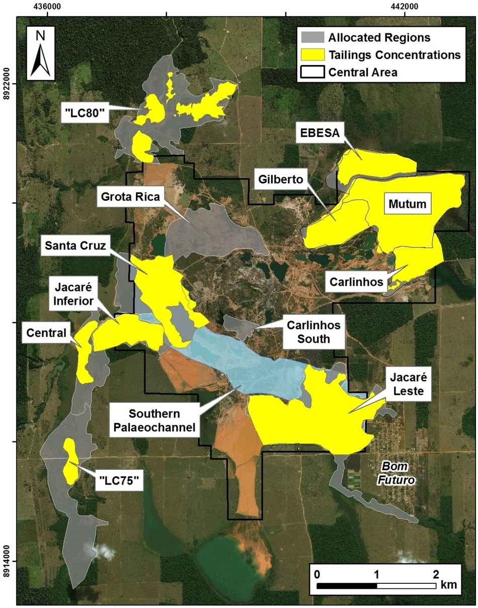 Figure 1: Distribution of allocated areas under the mining services agreement. Areas in yellow have been evaluated as resources / exploration targets in the current study. (CNW Group/Meridian Mining S.E.)