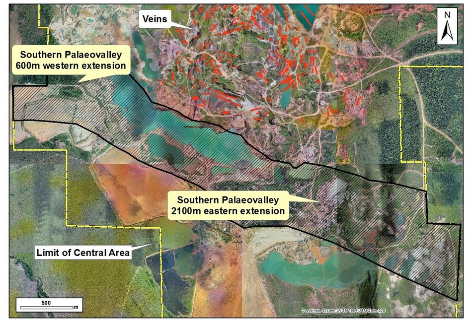Figure 2: Top: Newly allocated palaeovalley trend (hatched area), south of the ring-vein system on centred on the Bom Futuro Hill. (CNW Group/Meridian Mining S.E.)