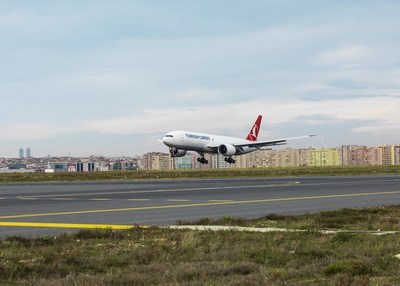 Boeing, Turkish Airlines celebrated the delivery of carrier?s first 777 Freighter. The airplane is seen here arriving to Istanbul. (Turkish Airlines photo).
