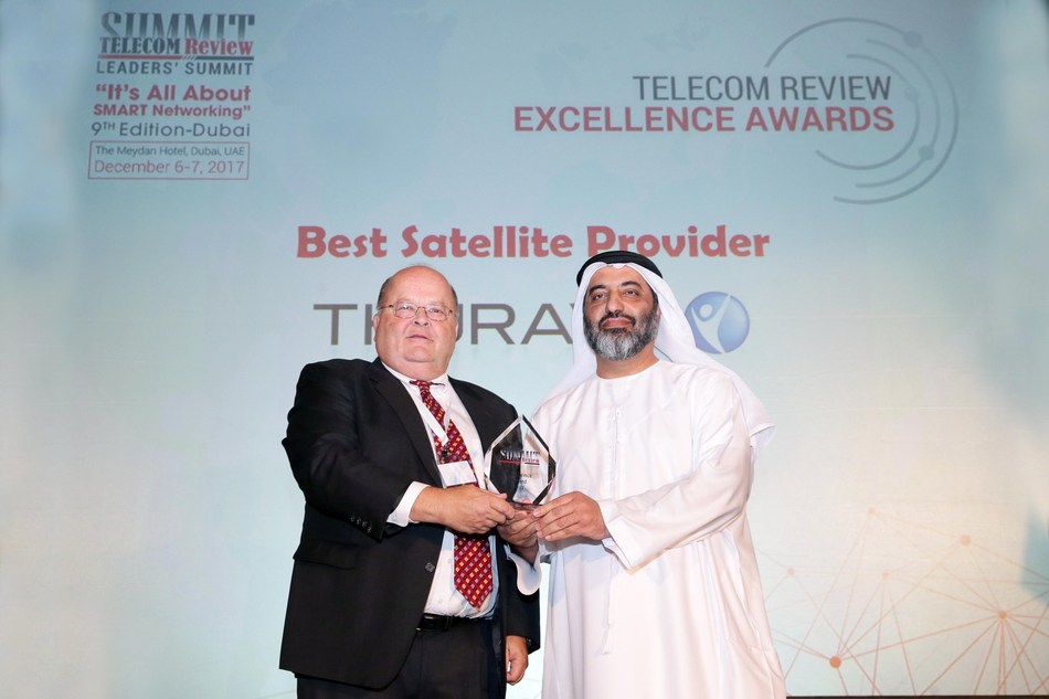 Thuraya's acting Chief Executive Officer Ahmed Al Shamsi receives the award from Toni Eid CEO of Trace Media International during Telecom Review's Excellence Award Ceremony that took place in Dubai on the 6th of December 2017. (PRNewsfoto/Thuraya)