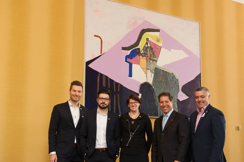 From left to right, Simon Robert, Director of Social Responsibility, Loto-Québec; Claudio Marzano, Art Consultant at Canada Council for the Arts Art Bank; Valérie Camden, Responsible for Ville de Gatineau's permanent collection; Alain Miroux, General Manager, Casino du Lac-Leamy and Pierre Lanthier, City Councillor and President of Ville de Gatineau's Commission des loisirs, des sports et du développement communautaire. (CNW Group/Loto-Québec)