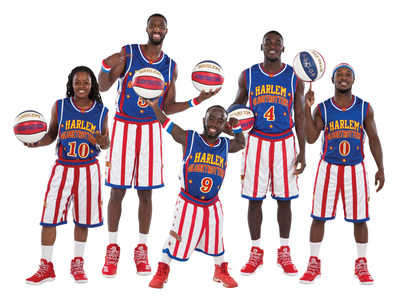 Harlem Globetrotters 2018 Rookie Class: (L-R) Torch George (#10), Bulldog Mack (#5), Hot Shot Swanson (#9), Money Merriweather (#4), Primetime Maberry (#0)