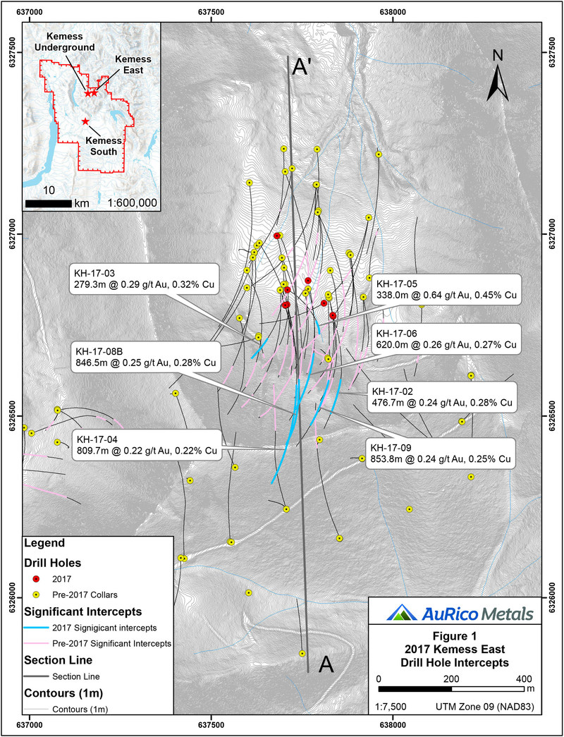 Figure 1 2017 Kemess East Drill Hole Intercepts (CNW Group/AuRico Metals)