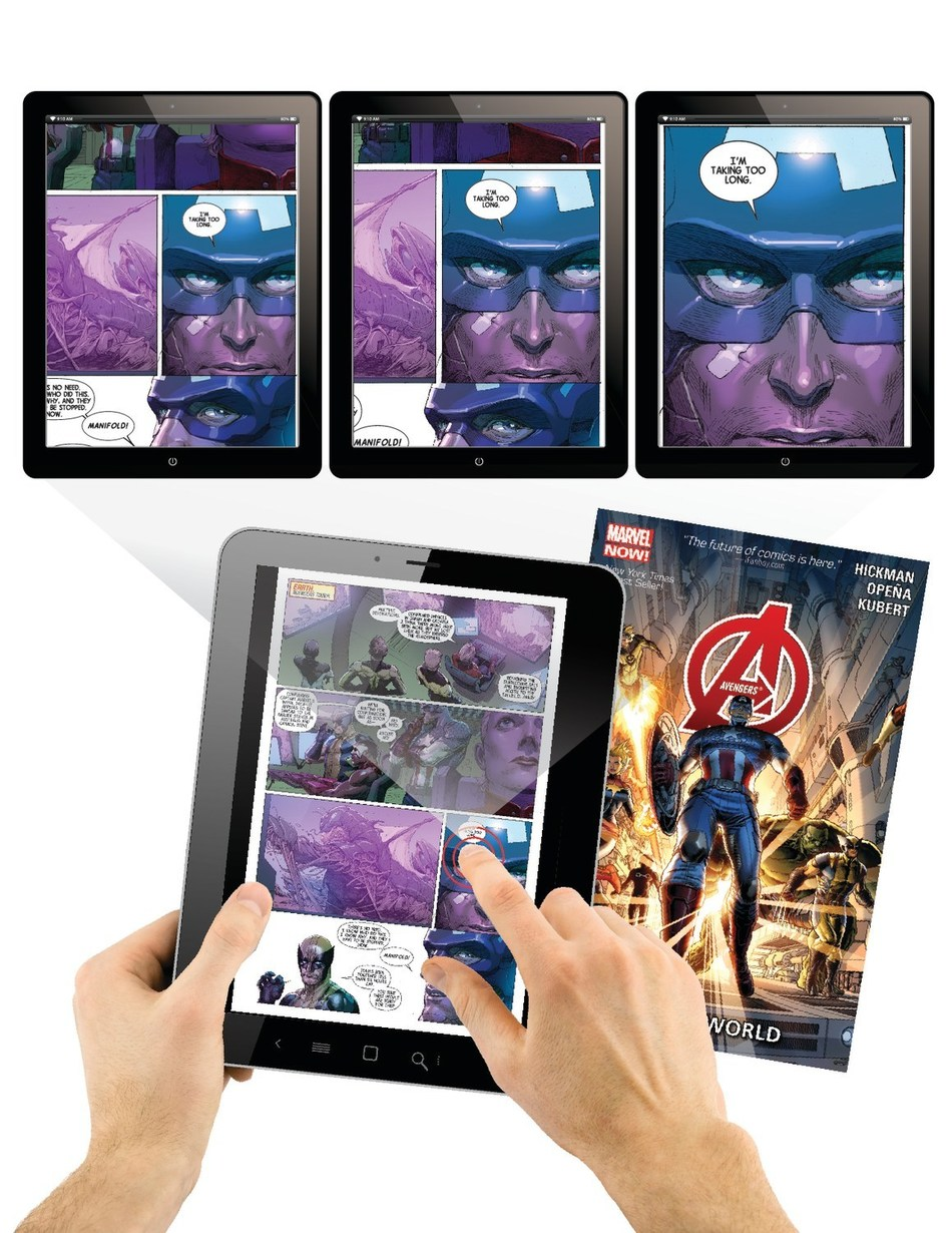 hoopla digital's Action View technology is one-of-a-kind, immersive digital reading experience that allows for full-page and panel-by-panel views of Marvel collections and graphic novels (PRNewsfoto/hoopla digital)