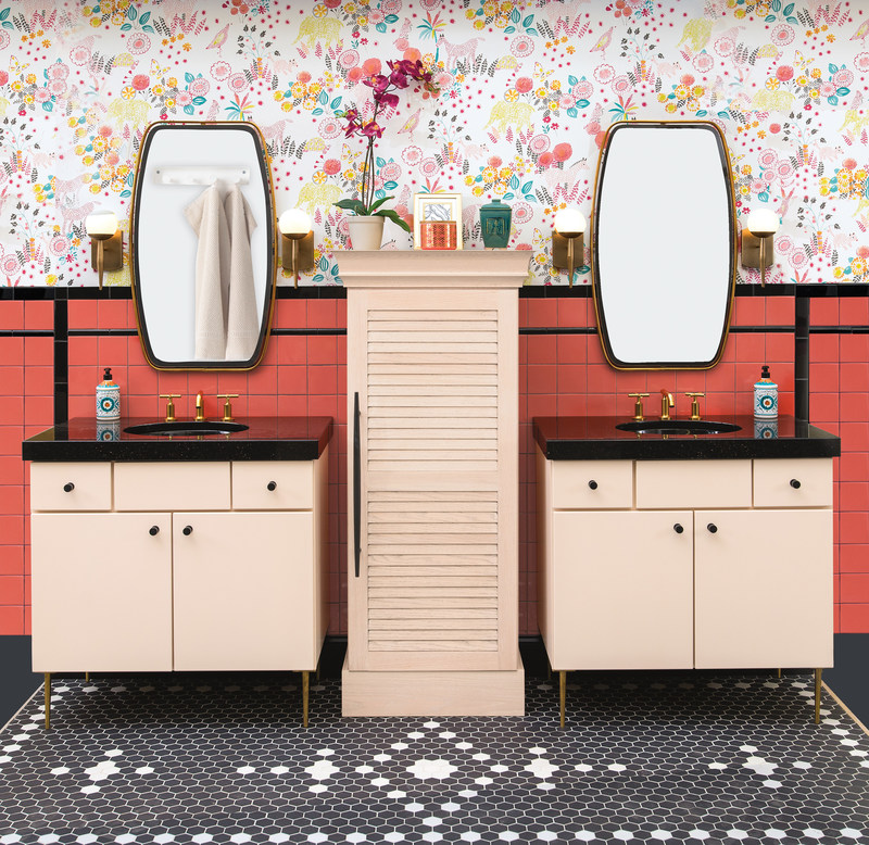 This 1950's Miami Vice style bathroom most certainly steals the show as it is a throwback-styled design with modern elements. Elements like the all-important illumination of drawers and cabinets, using Häfele lighting (Wellborn Cabinet's Touch To Light feature), or the base pull-out wire baskets. These fun twists of technology paired with retro-styled elements make this a winning solution for those looking for an enjoyable and lively design.