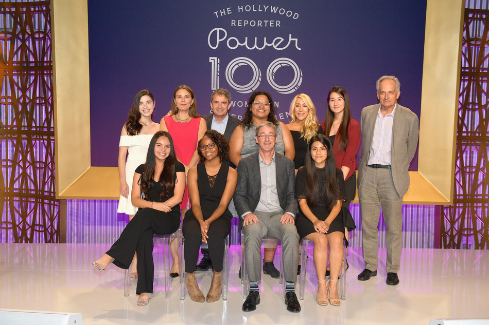 Students from The Hollywood Reporter's Women in Entertainment mentorship program, along with Loyola Marymount University President Timothy Law Snyder, Ph.D., THR Executive Editor Stephen Galloway, LMU School of Film and Television Dean Steven Ujlaki, 'Shark Tank' host Lori Greiner, and Trisha Cardoso of the Chuck Lorre Family Foundation.