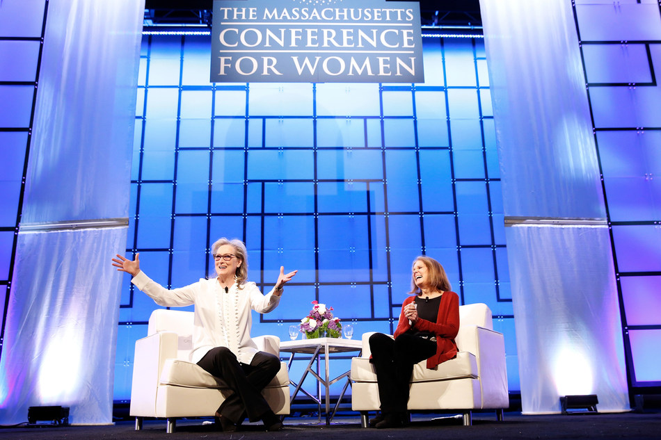 "Academy Award winning actress Meryl Streep and women's rights pioneer Gloria Steinem discuss the nation's pivotal shift in workplace culture at the two-day Massachusetts Conference for Women attended by a record 16,000 people. Streep announced that she and other women in the entertainment industry plan to issue ""non-negotiable"" demands, including equal representation in board rooms, entertainment and other industries. Photo by Marla Aufmuth/Getty Images for Massachusetts Conference for Women"