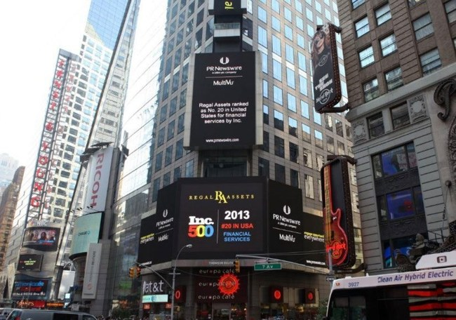 Regal Assets was featured on the Times Sq. Reuters sign