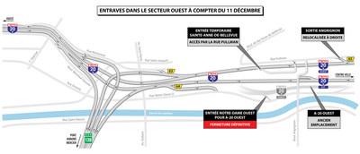 ENTRAVES DANS LE SECTEUR OUEST À COMPTER DU 11 DÉCEMBRE (Groupe CNW/Ministère des Transports, de la Mobilité durable et de l