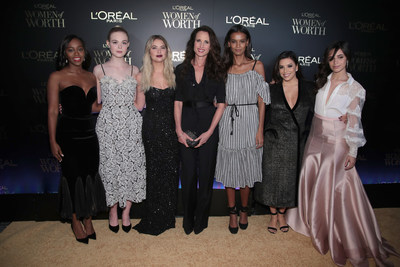NEW YORK, NY - DECEMBER 06:  (L-R) Aja Naomi King, Andie MacDowell, Elle Fanning, Eva Longoria and Liya Kebede attend the L'Oreal Paris Women of Worth Celebration 2017 on December 6, 2017 in New York City.  (Photo by Cindy Ord/Getty Images for L'Oreal)