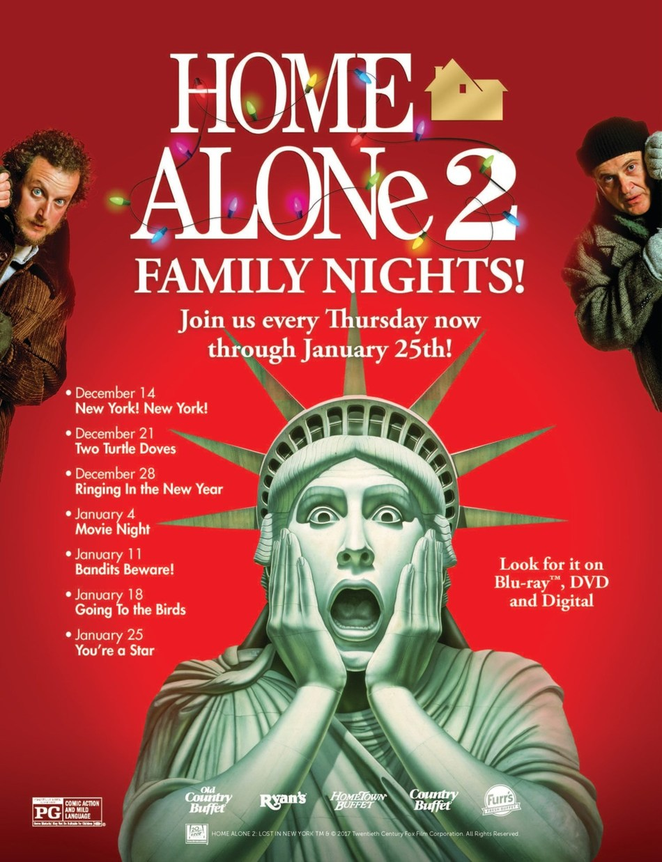 Ovation Brands and Furr's Fresh Buffet wish you happy holidays with new Home Alone 2 Family Nights from December 14 through January 25.