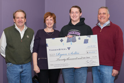 The TimkenSteel Charitable Fund named seven new TimkenSteel scholars today who will receive $145,000 in scholarship funds.  Tim Timken, TimkenSteel chairman, CEO and president (left), was on hand at Jackson High School to present the top award to Ryan Soltis.  (Also in photo is his mother Cherise and father Roger, on right.) The high school senior earned a $20,000 scholarship, renewable for up to three additional years for a total of $80,000.