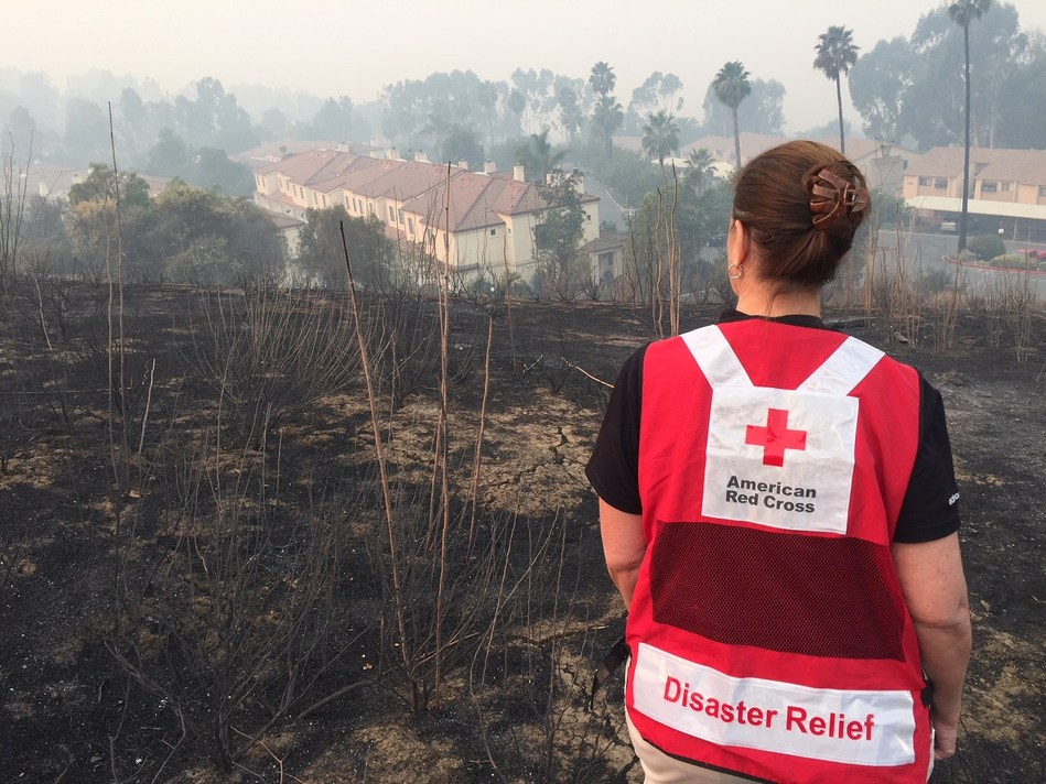 Fast moving wildfire swept through the hills of Ventura County CA early Tuesday morning December 5 leaving devastation for miles and residents seeking shelter as they were forced to evacuate the area. Photo by Dermot Tatlow/American Red Cross