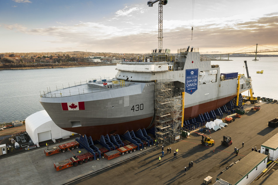 The Royal Canadian Navy's first Arctic and Offshore Patrol Ship (AOPS), the future HMCS Harry DeWolf, assembled at Irving Shipbuilding's Halifax Shipyard. (CNW Group/Irving Shipbuilding Inc.)