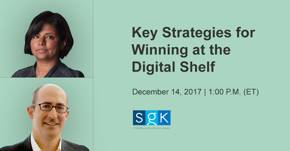 "SGK's Uma Kannappan, Global Product Director, e-Content, and Bruce Levinson, VP, Client Engagement, will present ""Key Strategies for Winning on the Digital Shelf"" on December 14, 2017, 1:00 P.M (ET) http://www.brandsquare.com"