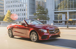 The 2018 E-Class Cabriolet is available for the first time with all-wheel-drive for year-round open-air performance.
