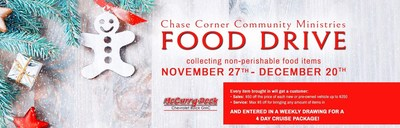 Those interested can visit McCurry-Deck Motors with their offerings for the Chase Corner Community Ministries Food Drive, and receive some excellent incentives for their good deed.