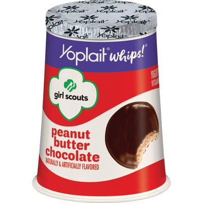 Yoplait introduces Girl Scout Cookie-inspired yogurt including Yoplait Whips! Girl Scouts Peanut Butter Chocolate yogurt.