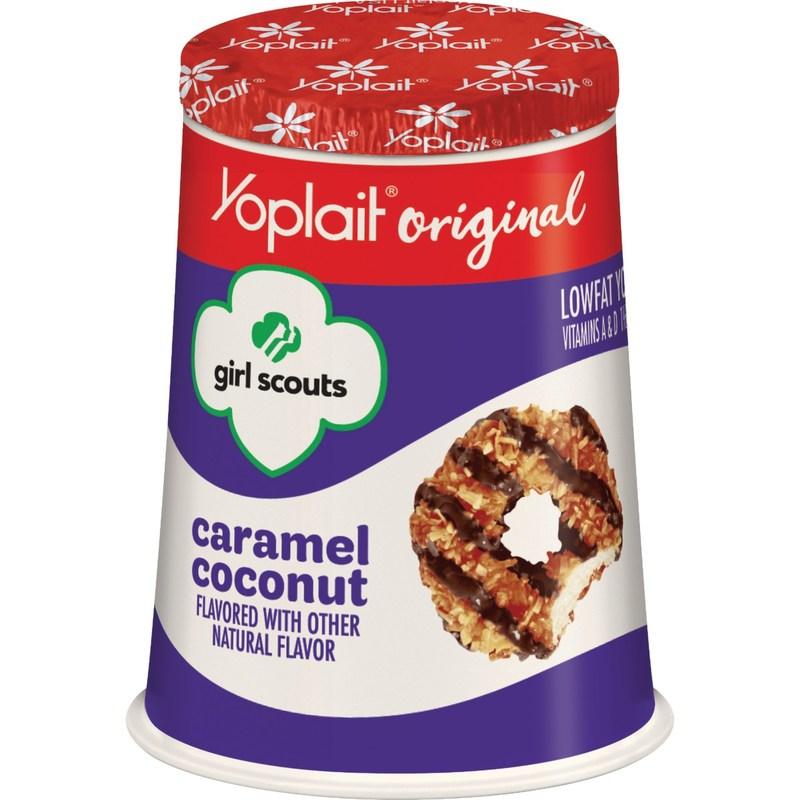 Yoplait introduces Girl Scout Cookie-inspired yogurt including Yoplait Original Girl Scouts Caramel Coconut yogurt.