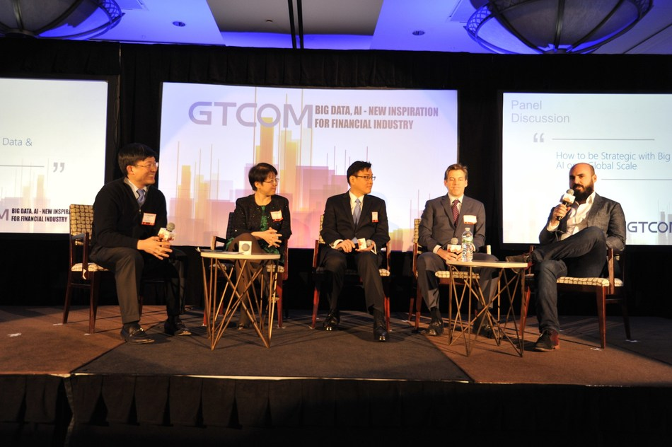 (from left) Jim K. Liew, Assistant Professor of Finance, Johns Hopkins Carey Business School; Lily Xu, Senior Vice President of China Unicom Americas; Hsi-Ping Wang, VP, Senior Business Analyst, PIMCO; Jeff Ferro, Director of Internal Strategies, BattleFin; Leigh Drogen, Founder and CEO, Estimize