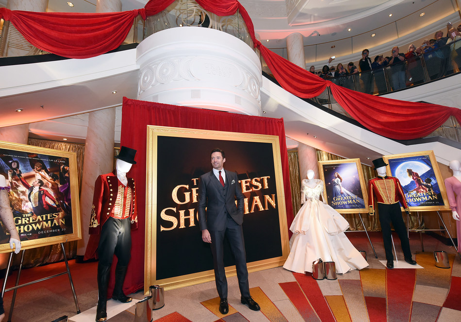 """Hugh Jackman attends as Cunard Hosts World Premiere of 20 th Century Fox's """"The Greatest Showman"""" on board Greatest Ocean Liner, Flagship Queen Mary 2, on Friday, Dec. 8, 2017, in Brooklyn, N.Y. Photo by Diane Bondareff/Invision for Cunard/AP Images)"""