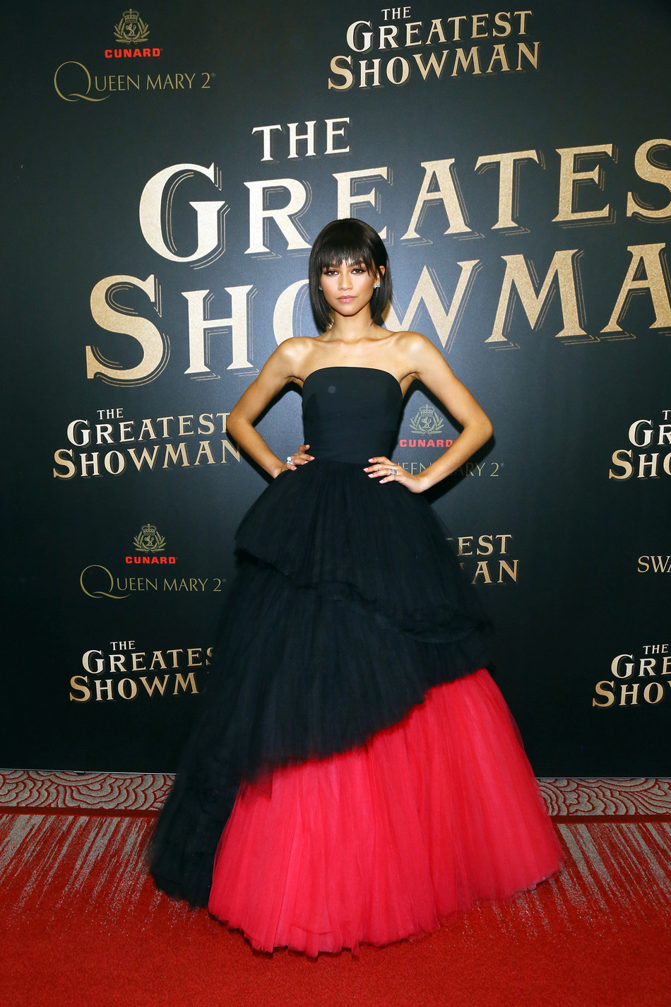 """Zendaya attends as Cunard Hosts World Premiere of 20 th Century Fox's """"The Greatest Showman"""" on board Greatest Ocean Liner, Flagship Queen Mary 2, on Friday, Dec. 8, 2017, in Brooklyn, N.Y. (Photo by Stuart Ramson/Invision for Cunard/AP Images)"""