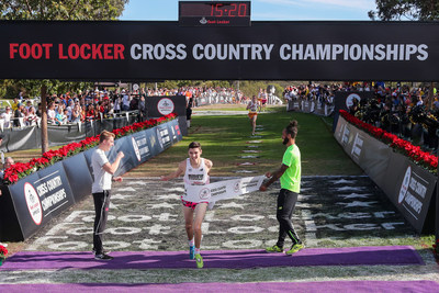 Dylan Jacobs of Orland Park, Ill., captured first place in the boys race at the 39th Annual Foot Locker Cross Country Championships (FLCCC) National Finals at Morley Field, Balboa Park in San Diego on Dec. 9, 2017.