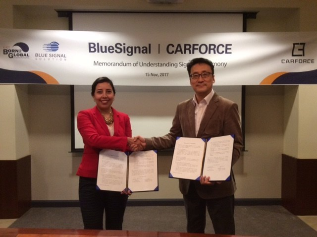 BlueSignal has secured a foothold in the U.S. market by signing an MOU with CarForce. (PRNewsfoto/K-ICT Born2Global Centre)
