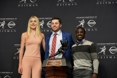 Wendy's Heisman National Winners posed with the 2017 Heisman Trophy Winner Baker Mayfield after the 83rd Heisman Memorial Trophy presentation in New York City. Soleil Gaylord of Telluride, Colorado (L) and Jackson Destine of Delray Beach, Florida, (R) were honored on Friday evening as National Winners of the 24th annual Wendy's High School Heisman. (Photo by Simon Russell / Getty Images for Wendy's)
