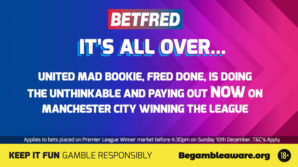 Done And Dusted - United Mad Bookie and Betfred Boss Fred Done Pays Out On Man City To Win The League (PRNewsfoto/Betfred)